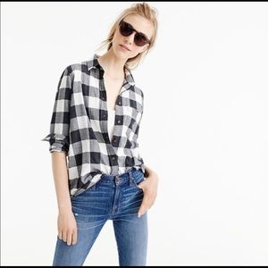 J Crew Boy charcoal buffalo plaid shirt